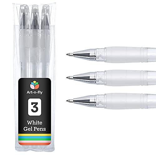 Bolígrafo Punta Fina Gel Blanco para Artistas con Tinta Archival Ink para Bocetos Dibujos e Ilustraciones (Set de 3)