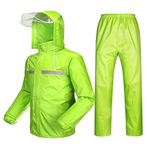 Regenbekleidung aus PVC für Fahrrad Motorrad Golf Fisch Kapuze Regen-Jacke und Hose Anzug Leichtes winddichtes und atmungsaktives Grün