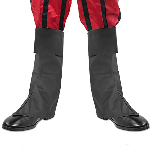 Skeleteen Faux Leather Costume Boots - Knee High Over The Shoe Black Pirate Boots Accessories for Costumes
