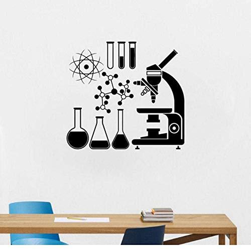 Tatuajes De Pared Vinilo Etiqueta De La Pared Microscopio Científico Química Decels Laboratorio Mural Decoración De La Habitación Arte Cartel 57X65Cm