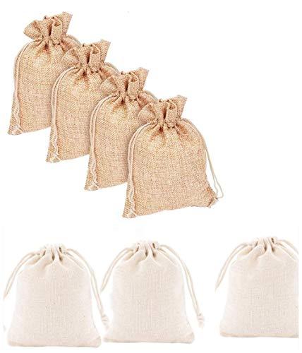 Voarge 24 Piezas Bolsas De Algodón con Cordón Ajustable, De Crema Envase de Regalo de Dulce, Chocolate, Joya para Fiesta Boda Navidad (Caqui, beige 13 * 18cm)