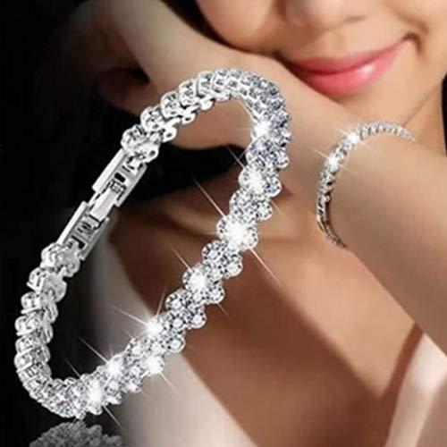 Branets Cristal Pulsera Plata de Circonita Cristal Ajustable Pulsera Tenis Regalo para Mujeres y Niñas