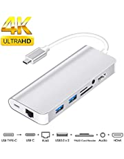 usb c ハブ hdmi 8in1 usb typec ハブ usb-c hdmi 変換 usb c to hdmi 変換アダプタ dex type c hdmi lan MacBook Pro/MacBook/新型 MacBook Air 13 2018/Samsung Galaxy Note 8 / S8 / S9 +/任天堂に対応