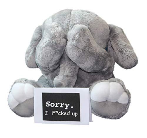 Cutest I'm Sorry Gift for Her & Him - Shy Baby Elephant - Embarrassed Adorable Super Soft Stuffed Animal Plush Toy - Unique Cute Forgive Me Apology Gift for Kids and Adults - Gray