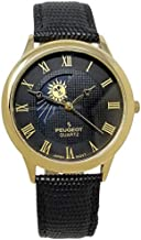 Peugeot Men's 14K Gold Plated Sun Moon Phase Vintage Dress Analog Watch with Leather Strap, Black/Black