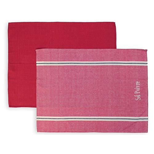 Soleil d'ocre Lote de 2 paños de Cocina de algodón Sel et POIVRE Rojo, Bordado 50 x 70 cm