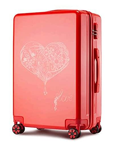 Boda Luna de Miel Maleta de Viaje Caja de dote Maleta de Boda Maleta con Ruedas roja Caja de código de Viaje Dote de Boda (Color: F, Tamaño: 29 Pulgadas)