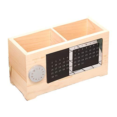 Caja de almacenamiento de calendario perpetuo de madera maciza Titular de lápiz creativo Hogar Desktop Papelería Maquillaje Organizador Espacio Saving Hogar Decoración Almacén Administración Accesorio