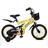 Kids' Bikes Cycling Children's Bicycle Double Elastic Shock-Absorbing Bicycle Suitable for Children of All Heights Kids' Bikes & Accessories (Color : Yellow, Size : 14inches)