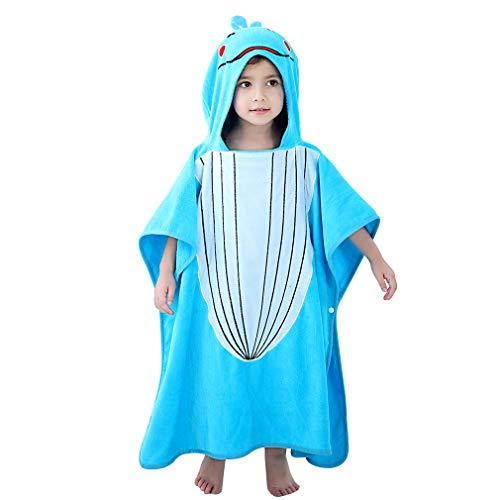 MICHLEY Baby badjas met capuchon kinderen badponcho meisjes badjas katoen dier badhanddoeken geschikt voor 2-6 jaar (blauw), 70x70cm