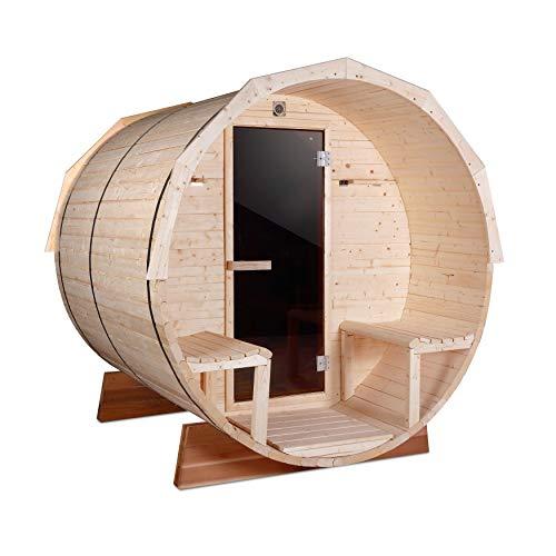 ALEKO SB7ABPI Pine Indoor Outdoor Wet-Dry Barrel Sauna with 9 kW ETL Certified Heater 7-Person Sauna, 136L x 71D Inches