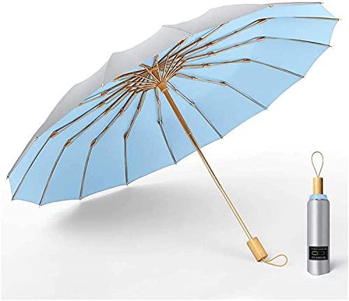 WDSZXH Paraguas jardín Fuerte Resistente al Viento 16k Paraguas Manual Hombres sombrilla Mujer Lluvia Grandes Paraguas Super protección de Sol y UV Sombra el Sol (Color: i) (Color : Sky Blue)