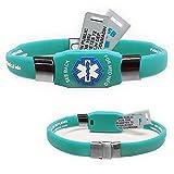 Waterproof Elite Plus USB Medical ID Bracelet, 2 GB USB, Free Engraving! - Choose Color! (Teal)