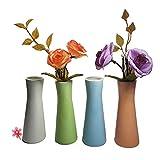 CRH600 Juego de 4 jarrones Decorativos en Miniatura, Botella de cerámica, Regalo Ideal para el hogar, Oficina, decoración, jarrones de Mesa, Adornos de Fiesta, Botellas
