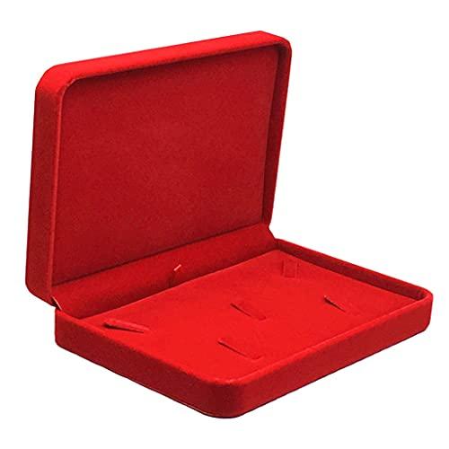XKMY Joyero organizador para mujeres y niñas, color rojo, azul y negro, organizador de collares y pulseras, caja de almacenamiento (color: rojo)
