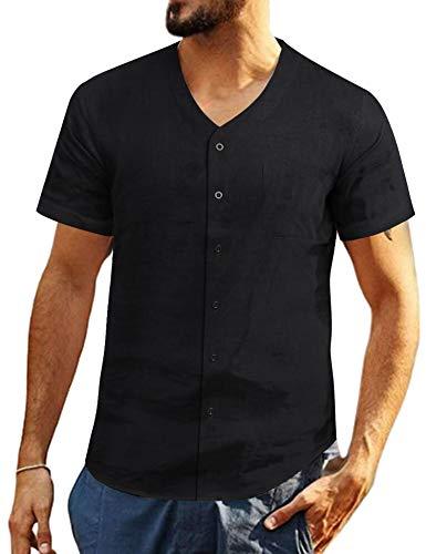 COOFANDY Herren Leinenshirt Kurzarm Leinen mit Brusttaschen Sommer Slim Fit Casual Leicht Freizeit Shirts für Männer