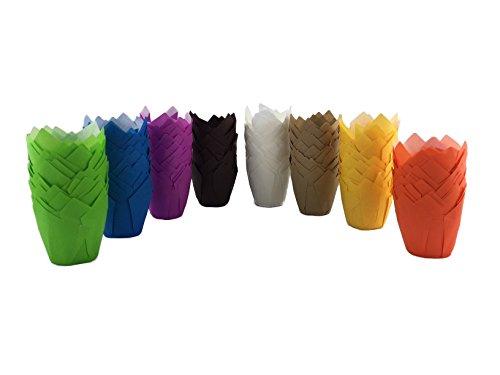 Tulpen Muffinform, 200 Stück, 8 verschiedene Farben (je 25 Stück): Weiß, Grün, Violett, Blau, Gelb, Orange, Braun, Hellbraun