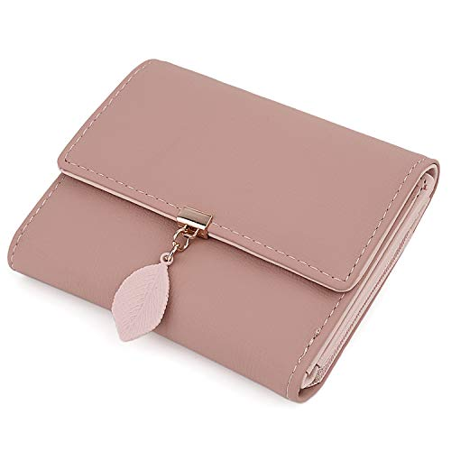 UTO Small Wallet for Women PU Leather Leaf Pendant Card Holder Organizer Zipper Coin Purse New Pink