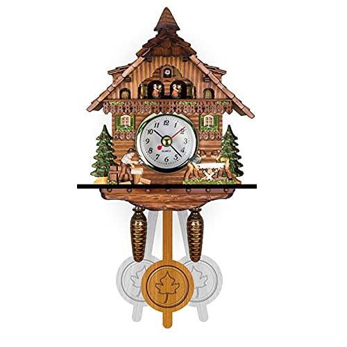 ZHJIUXING ST Reloj de Cuco Retro,Reloj de Cuarzo Hecho a Mano,Reloj de Pared de Cuco de Madera,para decoración de Sala de Estar con péndulo oscilante
