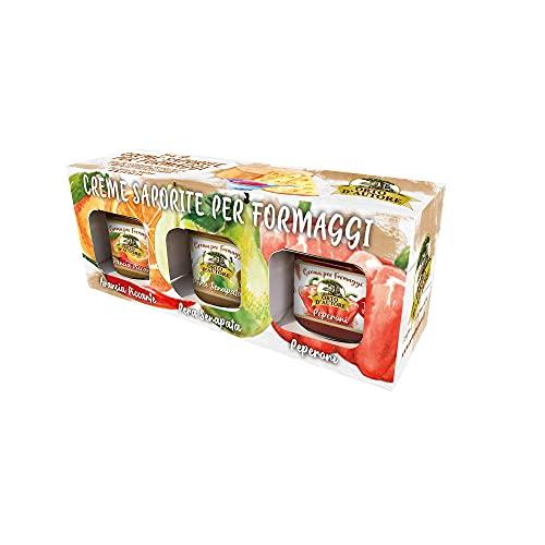 ORTO D'AUTORE Mermelada de Mostaza Tris Oro 3x100gr, Cremas de Mostaza para Queso Made in Italy, Mermeladas para Queso con Sabor a Peras, Naranjas y Pimientos, Vegetales italianos, Ideal para Carnes