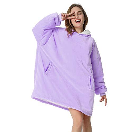 LetsFunny Oversized Hooded Blanket Sweatshirt, Super Soft Warm Comfortable Sherpa Wearable Blanket...