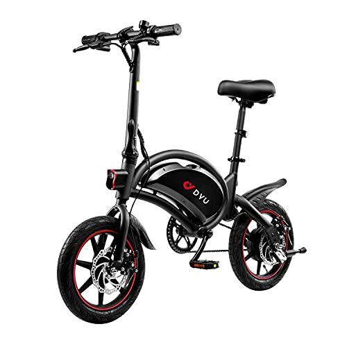 DYU Bici Elettrica Pieghevole, ruote da 14', 25 km/h, 250W Potenza Bicicletta Elettrica Pedalata Assistita,Batteria da 36V 10Ah per Biciclette Elettriche Adulto(D3F)