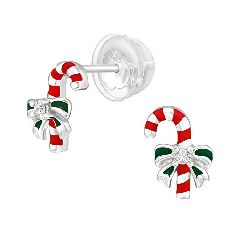 Bungsa Children's candy cane stud earrings made of 925 sterling silver with crystal.