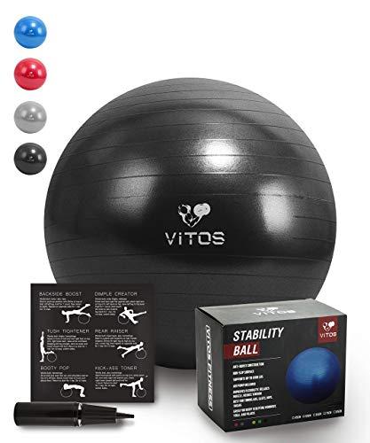 Anti Burst Stabilität Ball | Extra dicke rutschfeste unterstützt 2200lb für Fitness Übung Geburt Balance Yoga Workout Guide & Schnell inklusive Pumpe Professionelle Qualität Design, schwarz, 45 cm