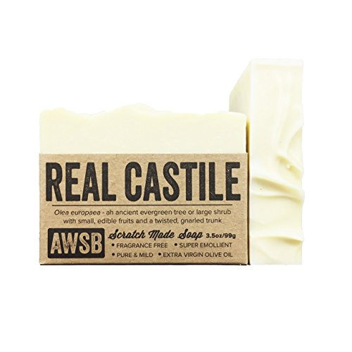 Real Castile Bar Soap, made with 100% Organic Olive Oil, All Natural, Vegan, for Super Sensitive Skin, Handmade by A Wild Soap Bar (1 pack)