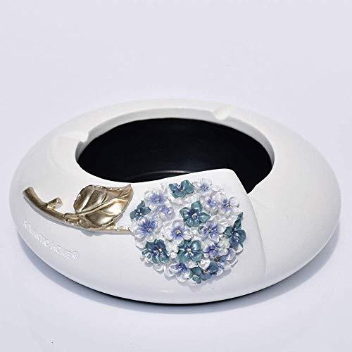 YYhkeby Tenedor de Cigarrillos Ash Bandejas de Cenizas Cenicientes de Resina para Cigarrillos Soporte de cenicero óvalo con decoración de Hortensia Cenicero Grande, Blanco + púrpura Jialele