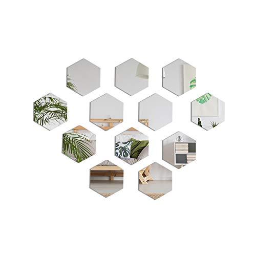 Hexagon Spiegel Fliesen Wandaufkleber, 12 Stück 3D Acryl Dekor Spiegel Wandsticker auf Modernem Aufkleber für Wandbild Zuhause Wohnzimmer Schlafzimmer Sofa Hintergrund , Silber (8 x 8 cm)