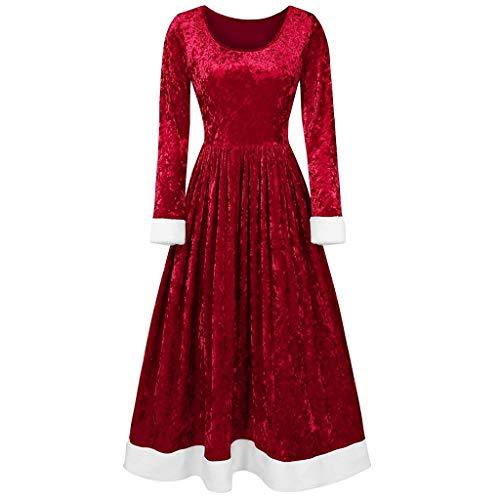 Alwayswin Damen Weihnachtskostüm Langarm O-Ausschnitt Kleid und Kapuzenumhang Set Weihnachten Samt Partykleider Elegant Knielang Rockabilly Kleid Petticoat Kleider Schal mit Kapuze
