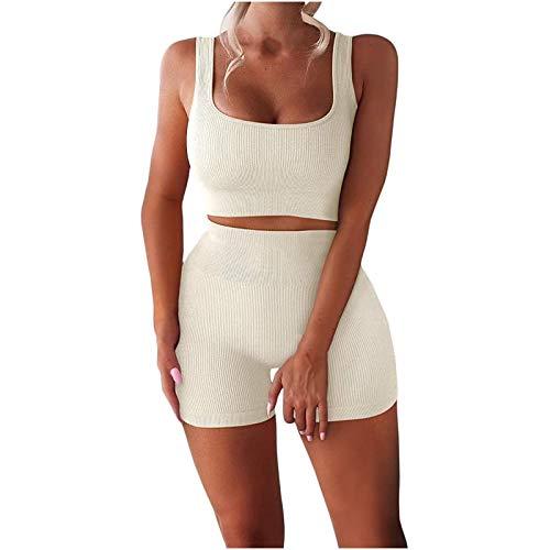 Mujeres sin Mangas sin Cintura Alta Pantalones con Bolsillos Yoga Costuras Acanalado Crop Tank Pantalones Cortos de Cintura Alta Conjuntos de Trajes de Yoga