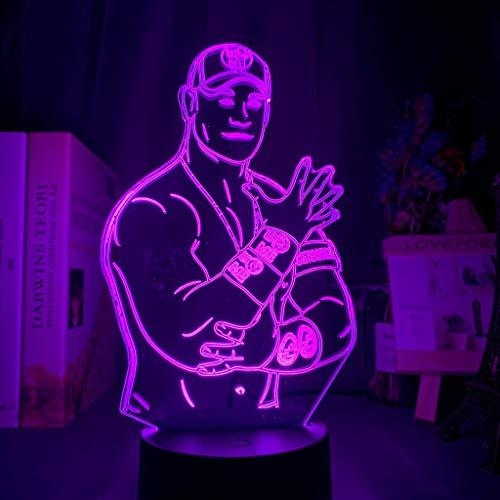 Solo 1 pieza John Felix Anthony Cena Jr.Figura Luz de noche LED para decoración de habitación de oficina Sensor táctil LED Lámpara de mesa de dormitorio colorida Luchador