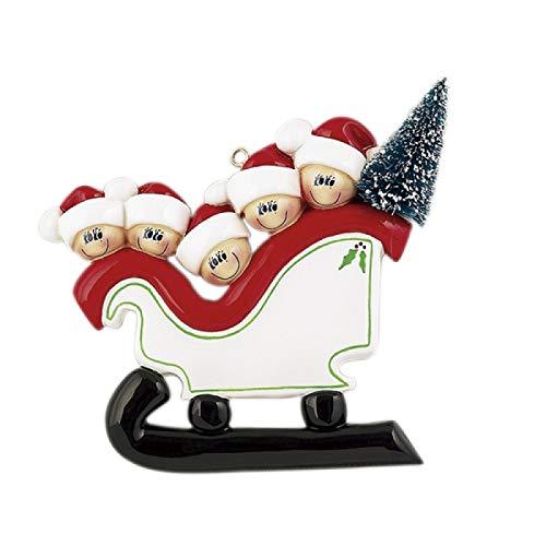Kerstboomdecoratie slee familie, personaliseerbaar, voor gezinnen van 2 tot 5 personen