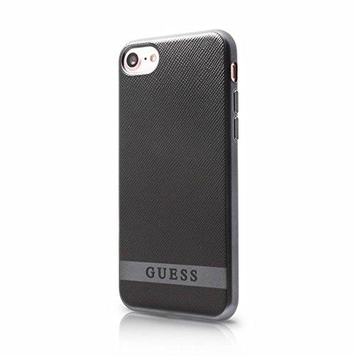 Guess GUHCP7STRBAS Classic PU Soft Schutzhülle für Apple iPhone 7 schwarz/Silber