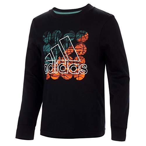 adidas Kids Boys' Long Sleeve Cotton Jersey Logo T-Shirt, All Day Black/Green, 3T