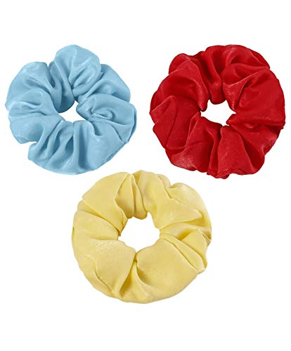 Women Satin Silk Hair Scrunchies - Women Girl Blue Yellow Red Mulberry Soft Bobbles Thin Elastic Ponytail Hair Tie for Slip Skin Pillow Case Sleep Scarf Bonnet, Christmas Santa Day Gifts For Women