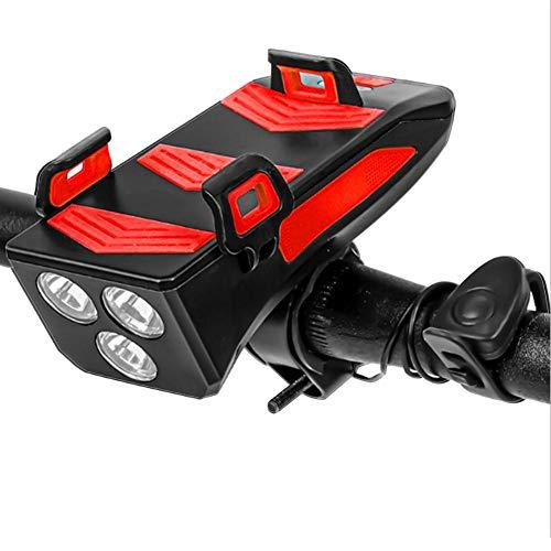 Support de téléphone pour phare de vélo, phare de vélo rechargeable USB, lampe de vélo 4 en 1 avec klaxon et support de téléphone, haut-parleur étanche Accessoires de vélo de montagne