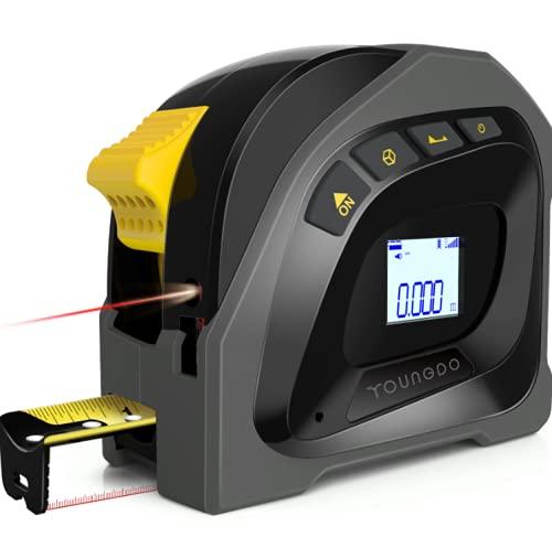 YOUNGDO Misura di Nastro Laser Digitale 2 in 1, 40m Misuratore Laser & 5m Metro a Nastro con LCD Display Digitale M/IN/FT, Calibrazione Regolabile Misuratore Digitale Ricarica USB e Gancio Portatile