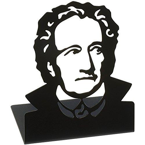 moses. Buchstützen-Set Goethe libri_x , 2er-Set Buchständer aus Metall , Zwei schwarze Metall-Buchstützen im Set mit wunderschön ausgestanztem Goethe-Motiv
