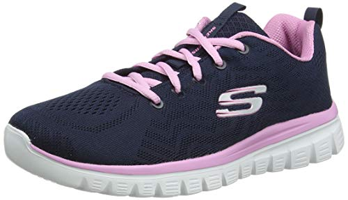 Skechers Women 12615 Low-Top Trainers, Blue (Navy/Pink), 8 UK (41 EU)