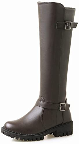 ZHRUI botas para mujer - Sección Larga más Terciopelo botas para mujer botas Planas botas de Invierno de Cabeza rojoonda zapatos de Gran tamaño para mujer 34-43 (Color   marrón, tamaño   EU 40)