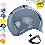 VRacing Visiera Casco 3 Bottoni Universale Casco jet e integrale Visiere Bubble a Bolla Custom retrò con meccanismo 3 altezze regolabile flip up incluso (Fume' Chiaro)