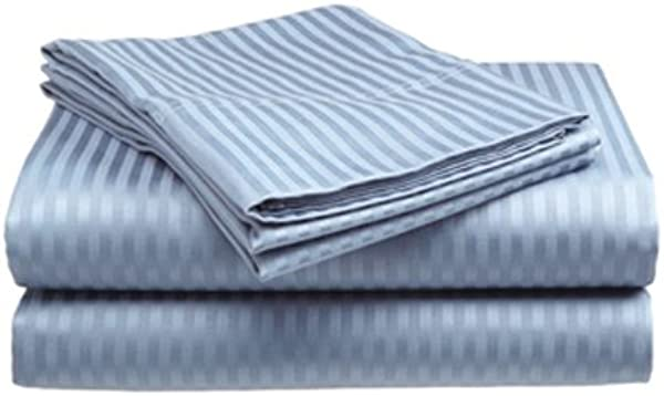 Deluxe Hotel 4 Piece Bed Sheet Set Dobby Stripe 100 Cotton Sateen 300 Thread Count Full Light Blue