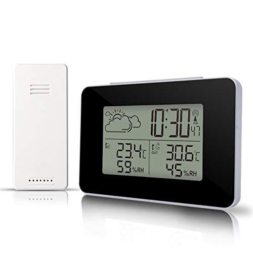 AQHXLS Funkwetterstation, elektronische Uhr mit Sensor, Wecker, Temperatur und Luftfeuchtigkeit Vorhersage Snooze-Uhr-Taktgeber, schwarz/weiß wasserdicht (Color : Black)
