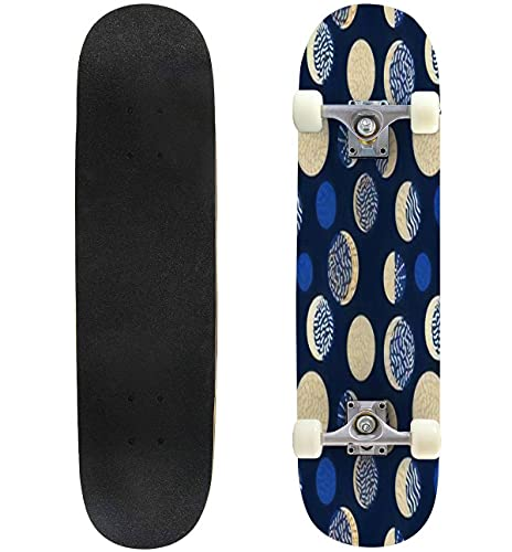 """Moon Phases Abstract Seamless Pattern 1960s Style Geometric Skateboard 31""""x8"""" Double-Warped Skateboards Outdoor Street Sports Skateboard for Beginners Professionals Cool Adult Teen Gifts"""
