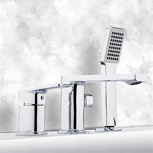 HNBMC Grifo para bañera de 3 Piezas, Grifo Mezclador de Agua Caliente y fría, Grifo Monomando para bañera de Mano, Grifo Mezclador de Cromo