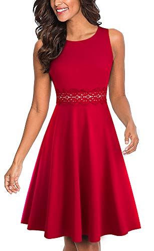 HOMEYEE Women's Sleeveless Cocktail A-Line Embroidery Party Summer Wedding Guest Dress A079(8,RED)