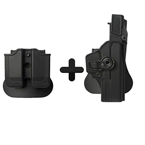 IMI Defense Z1410 Level 3 Tactical Retention Roto Holster + Double Magzine Pouch For Glock 17/22/31 Pistol Hndgun
